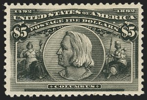 Sale Number 1140, Lot Number 635, $1.00-$5.00 1893 Columbian Issue (Scott 241-245)$5.00 Columbian (245), $5.00 Columbian (245)
