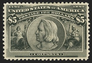 Sale Number 1140, Lot Number 636, $1.00-$5.00 1893 Columbian Issue (Scott 241-245)$5.00 Columbian (245), $5.00 Columbian (245)