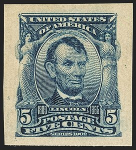 Sale Number 1140, Lot Number 752, 1902-08 Issues (Scott 300-320)5c Blue, Imperforate (315), 5c Blue, Imperforate (315)