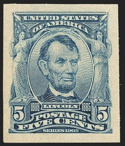Sale Number 1140, Lot Number 753, 1902-08 Issues (Scott 300-320)5c Blue, Imperforate (315), 5c Blue, Imperforate (315)