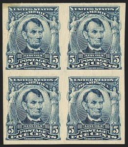 Sale Number 1140, Lot Number 754, 1902-08 Issues (Scott 300-320)5c Blue, Imperforate (315), 5c Blue, Imperforate (315)