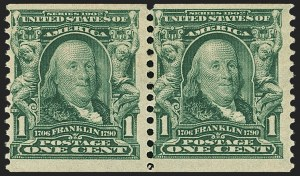 Sale Number 1140, Lot Number 756, 1902-08 Issues (Scott 300-320)1c Blue Green, Coil (318), 1c Blue Green, Coil (318)