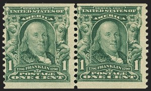 Sale Number 1140, Lot Number 757, 1902-08 Issues (Scott 300-320)1c Blue Green, Coil (318), 1c Blue Green, Coil (318)