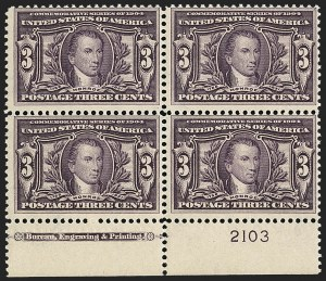 Sale Number 1140, Lot Number 762, 1904 Louisiana Purchase, 1907 Jamestown Issues (Scott 323-330)3c Louisiana Purchase (325), 3c Louisiana Purchase (325)