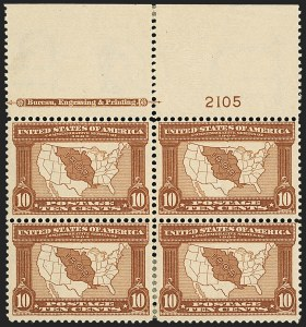 Sale Number 1140, Lot Number 764, 1904 Louisiana Purchase, 1907 Jamestown Issues (Scott 323-330)10c Louisiana Purchase (327), 10c Louisiana Purchase (327)