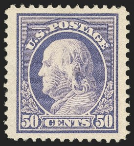 Sale Number 1140, Lot Number 849, 1912-15 Washington-Franklin Issue (Scott 405-461)50c Violet (422), 50c Violet (422)