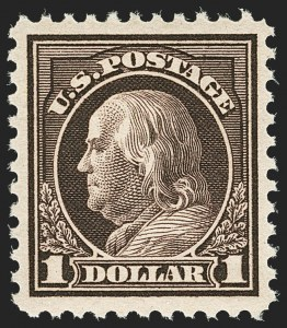 Sale Number 1140, Lot Number 932, 1917-19 Issues (Scott 481-524)$1.00 Violet Brown (518), $1.00 Violet Brown (518)