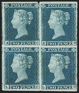 Sale Number 1141, Lot Number 2099, Great BritainGREAT BRITAIN, 1841, 2p Blue (4; SG 14), GREAT BRITAIN, 1841, 2p Blue (4; SG 14)