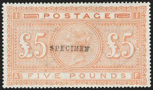 "Sale Number 1141, Lot Number 2103, Great BritainGREAT BRITAIN, 1882, £5 Bright Orange on Bluish, ""Specimen"" Ovpt. (93S; SG 133s), GREAT BRITAIN, 1882, £5 Bright Orange on Bluish, ""Specimen"" Ovpt. (93S; SG 133s)"