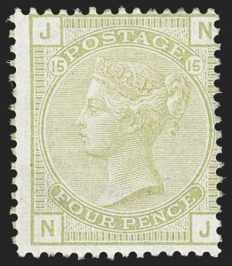 Sale Number 1143, Lot Number 3026, Great Britain - Victoria IssuesGREAT BRITAIN, 1877, 4p Olive Green (70; SG 153), GREAT BRITAIN, 1877, 4p Olive Green (70; SG 153)