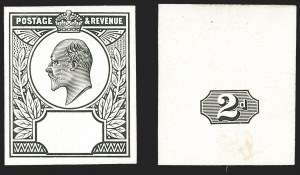 Sale Number 1143, Lot Number 3037, Great Britain - King Edward VII IssuesGREAT BRITAIN, 1902, 2p King Edward VII, Head and Duty Plate Essays in Black on Glazed White Card (130P; SG 225P), GREAT BRITAIN, 1902, 2p King Edward VII, Head and Duty Plate Essays in Black on Glazed White Card (130P; SG 225P)