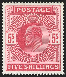 Sale Number 1143, Lot Number 3039, Great Britain - King Edward VII IssuesGREAT BRITAIN, 1902-11, 5sh Carmine Rose (140; SG 263), GREAT BRITAIN, 1902-11, 5sh Carmine Rose (140; SG 263)