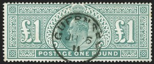 Sale Number 1143, Lot Number 3040, Great Britain - King Edward VII IssuesGREAT BRITAIN, 1902, £1 Green (142; SG 266), GREAT BRITAIN, 1902, £1 Green (142; SG 266)