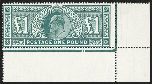 Sale Number 1143, Lot Number 3041, Great Britain - King Edward VII IssuesGREAT BRITAIN, 1911, £1 Deep Green, Somerset Printing (142b; SG 320), GREAT BRITAIN, 1911, £1 Deep Green, Somerset Printing (142b; SG 320)