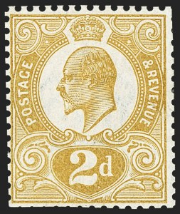"Sale Number 1143, Lot Number 3042, Great Britain - King Edward VII IssuesGREAT BRITAIN, 1910 2p Unissued ""Tyrian Plum"", Trial Color Proof in Yellow-Ocher (SG 266a Trial Color), GREAT BRITAIN, 1910 2p Unissued ""Tyrian Plum"", Trial Color Proof in Yellow-Ocher (SG 266a Trial Color)"