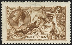 Sale Number 1143, Lot Number 3043, Great Britain - King George V IssuesGREAT BRITAIN, 1915, 2sh6p Deep Yellow Brown Seahorse (173c; SG 405), GREAT BRITAIN, 1915, 2sh6p Deep Yellow Brown Seahorse (173c; SG 405)