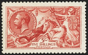 Sale Number 1143, Lot Number 3044, Great Britain - King George V IssuesGREAT BRITAIN, 1915, 5sh Carmine, De La Rue (174b; SG 409), GREAT BRITAIN, 1915, 5sh Carmine, De La Rue (174b; SG 409)