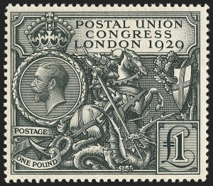 Sale Number 1143, Lot Number 3045, Great Britain - King George V IssuesGREAT BRITAIN, 1929, £1 Black, Postal Congress (209; SG 438), GREAT BRITAIN, 1929, £1 Black, Postal Congress (209; SG 438)