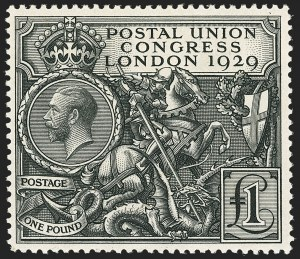 Sale Number 1143, Lot Number 3047, Great Britain - King George V IssuesGREAT BRITAIN, 1929, £1 Black, Postal Congress (209; SG 438), GREAT BRITAIN, 1929, £1 Black, Postal Congress (209; SG 438)