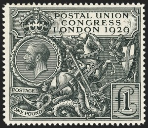 Sale Number 1143, Lot Number 3048, Great Britain - King George V IssuesGREAT BRITAIN, 1929, £1 Black, Postal Congress (209; SG 438), GREAT BRITAIN, 1929, £1 Black, Postal Congress (209; SG 438)