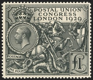 Sale Number 1143, Lot Number 3049, Great Britain - King George V IssuesGREAT BRITAIN, 1929, £1 Black, Postal Congress (209; SG 438), GREAT BRITAIN, 1929, £1 Black, Postal Congress (209; SG 438)