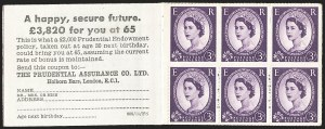 Sale Number 1143, Lot Number 3052, Great Britain - King George VI-Queen Elizabeth II IssuesGREAT BRITAIN, 1958 3p Deep Lilac, Booklet Pane of Six, Part Perforated (SG 575c), GREAT BRITAIN, 1958 3p Deep Lilac, Booklet Pane of Six, Part Perforated (SG 575c)