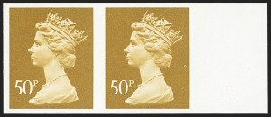 Sale Number 1143, Lot Number 3057, Great Britain - King George VI-Queen Elizabeth II IssuesGREAT BRITAIN, 1992, 50p Ocher, Imperforate Pair (SG x991ab), GREAT BRITAIN, 1992, 50p Ocher, Imperforate Pair (SG x991ab)