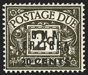 "Sale Number 1143, Lot Number 3061, Great Britain - King George VI-Queen Elizabeth II IssuesBRITISH OFFICES IN THE MIDDLE EAST, Eritrea, 1950, 20c on 2p Black Brown, No Stop After ""A"" (SG ED8a), BRITISH OFFICES IN THE MIDDLE EAST, Eritrea, 1950, 20c on 2p Black Brown, No Stop After ""A"" (SG ED8a)"