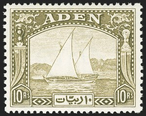 Sale Number 1143, Lot Number 3064, British Commonwealth Omnibus Issues thru AscensionADEN, 1937, -1/2a-10r Dhow (1-12; SG 1-12), ADEN, 1937, -1/2a-10r Dhow (1-12; SG 1-12)