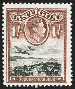 Sale Number 1143, Lot Number 3065, British Commonwealth Omnibus Issues thru AscensionANTIGUA, 1938, 1sh Brown & Black, Double Frame, One Albino (91b; SG 105ab), ANTIGUA, 1938, 1sh Brown & Black, Double Frame, One Albino (91b; SG 105ab)