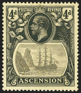 Sale Number 1143, Lot Number 3066, British Commonwealth Omnibus Issues thru AscensionASCENSION, 1924, 4p Black on Yellow, Torn Flag (SG 15b), ASCENSION, 1924, 4p Black on Yellow, Torn Flag (SG 15b)