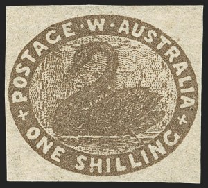 Sale Number 1143, Lot Number 3071, Australian States - New South Wales thru Western AustraliaWESTERN AUSTRALIA, 1854-57, 1sh Dark Brown (5a; SG 4b), WESTERN AUSTRALIA, 1854-57, 1sh Dark Brown (5a; SG 4b)