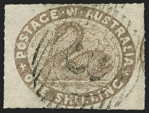 Sale Number 1143, Lot Number 3072, Australian States - New South Wales thru Western AustraliaWESTERN AUSTRALIA, 1854-57, 1sh Brown, Rouletted (10; SG 6), WESTERN AUSTRALIA, 1854-57, 1sh Brown, Rouletted (10; SG 6)