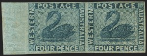 Sale Number 1143, Lot Number 3074, Australian States - New South Wales thru Western AustraliaWESTERN AUSTRALIA, 1860, 4p Blue, Watermark Inverted (15 var; SG 26 var), WESTERN AUSTRALIA, 1860, 4p Blue, Watermark Inverted (15 var; SG 26 var)
