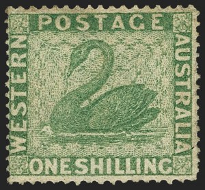 Sale Number 1143, Lot Number 3079, Australian States - New South Wales thru Western AustraliaWESTERN AUSTRALIA, 1861, 1sh Green, Clean-Cut Perf (24; SG 43), WESTERN AUSTRALIA, 1861, 1sh Green, Clean-Cut Perf (24; SG 43)