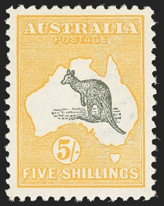 Sale Number 1143, Lot Number 3086, AustraliaAUSTRALIA, 1915, 5sh Yellow & Gray, Inverted Watermark (44a; SG 30w), AUSTRALIA, 1915, 5sh Yellow & Gray, Inverted Watermark (44a; SG 30w)