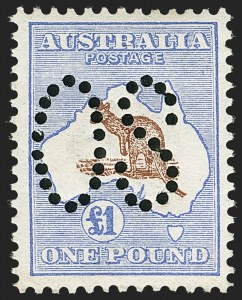"Sale Number 1143, Lot Number 3095, AustraliaAUSTRALIA, 1913, £1 Ultramarine & Brown, Large Perforated ""OS"" (OA14; SG O14; BW 51b), AUSTRALIA, 1913, £1 Ultramarine & Brown, Large Perforated ""OS"" (OA14; SG O14; BW 51b)"