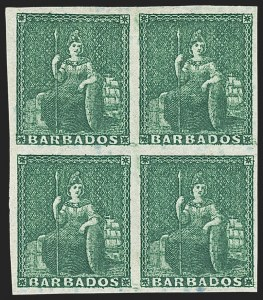 Sale Number 1143, Lot Number 3103, BarbadosBARBADOS, 1852-55, (-1/2p) Deep Green on Bluish Paper (1; SG 2), BARBADOS, 1852-55, (-1/2p) Deep Green on Bluish Paper (1; SG 2)