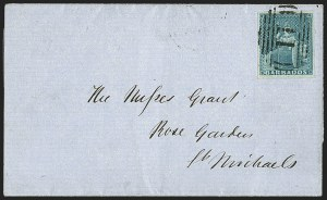 Sale Number 1143, Lot Number 3104, BarbadosBARBADOS, 1852-55, (1p) Blue on Bluish (2a; SG 3), BARBADOS, 1852-55, (1p) Blue on Bluish (2a; SG 3)