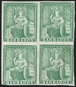 Sale Number 1143, Lot Number 3105, BarbadosBARBADOS, 1861, (-1/2p) Green, Imperforate (15b; SG 21b), BARBADOS, 1861, (-1/2p) Green, Imperforate (15b; SG 21b)