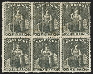 Sale Number 1143, Lot Number 3107, BarbadosBARBADOS, 1871, 1sh Black, Rough Perf 14 to 16 (28; SG 47), BARBADOS, 1871, 1sh Black, Rough Perf 14 to 16 (28; SG 47)