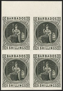 Sale Number 1143, Lot Number 3108, BarbadosBARBADOS, 1873, 5sh Trial Color Plate Proof in Black (43P; 64P), BARBADOS, 1873, 5sh Trial Color Plate Proof in Black (43P; 64P)