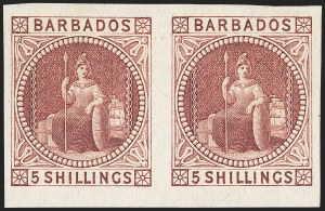 Sale Number 1143, Lot Number 3109, BarbadosBARBADOS, 1873, 5sh Plate Proof (43P; 64P), BARBADOS, 1873, 5sh Plate Proof (43P; 64P)