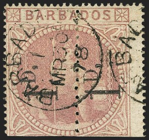 Sale Number 1143, Lot Number 3114, BarbadosBARBADOS, 1878, 1p on Half of 5sh Dull Rose, Unsevered Pair (57a; SG 86b), BARBADOS, 1878, 1p on Half of 5sh Dull Rose, Unsevered Pair (57a; SG 86b)