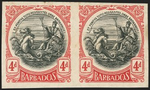Sale Number 1143, Lot Number 3117, BarbadosBARBADOS, 1918, 4p Red & Black, Imperforate Plate Proof (134P; SG 199P), BARBADOS, 1918, 4p Red & Black, Imperforate Plate Proof (134P; SG 199P)