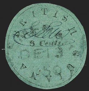 "Sale Number 1143, Lot Number 3144, British GuianaBRITISH GUIANA, 1850, 8c Black on Green, ""Cotton Reel"" (4; SG 4), BRITISH GUIANA, 1850, 8c Black on Green, ""Cotton Reel"" (4; SG 4)"