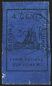 Sale Number 1143, Lot Number 3148, British GuianaBRITISH GUIANA, 1852, 4c Black on Blue (7; SG 10), BRITISH GUIANA, 1852, 4c Black on Blue (7; SG 10)