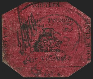 Sale Number 1143, Lot Number 3149, British GuianaBRITISH GUIANA, 1856, 4c Black on Magenta (14; SG 24), BRITISH GUIANA, 1856, 4c Black on Magenta (14; SG 24)