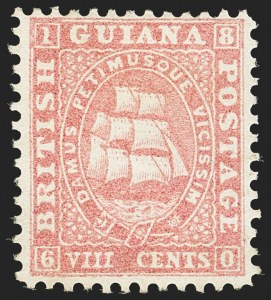 Sale Number 1143, Lot Number 3150, British GuianaBRITISH GUIANA, 1860, 8c Rose (20; SG 35), BRITISH GUIANA, 1860, 8c Rose (20; SG 35)