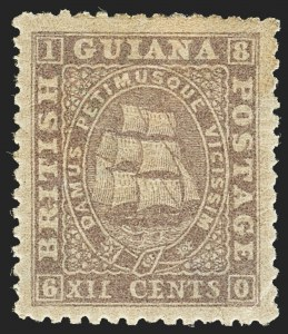 Sale Number 1143, Lot Number 3151, British GuianaBRITISH GUIANA, 1862-65, 12c Lilac, Perf 12-1/2-13 (32; SG 55), BRITISH GUIANA, 1862-65, 12c Lilac, Perf 12-1/2-13 (32; SG 55)